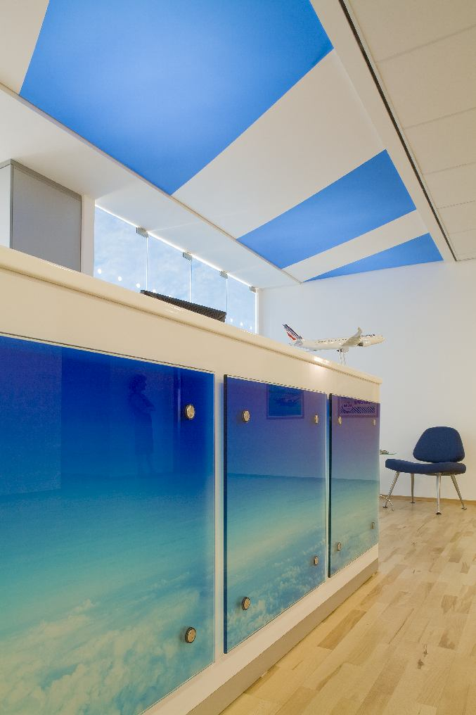 Barrisol ceiling – incorporating colors and shapes characteristic to both companies.